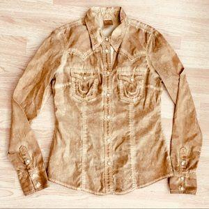 True Religion Distressed Western Button Up Top